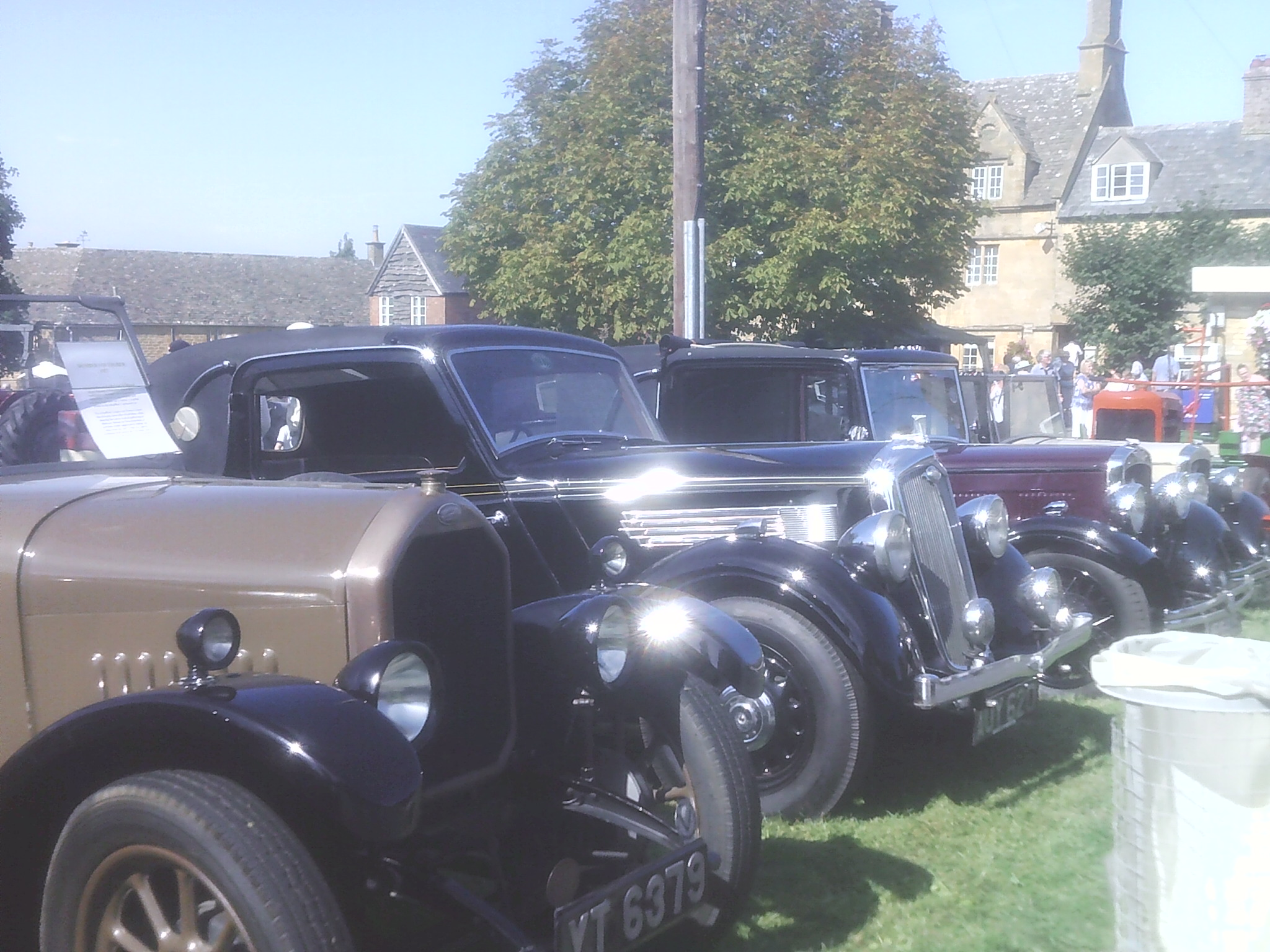Vintage car headlights at the Willersey Show