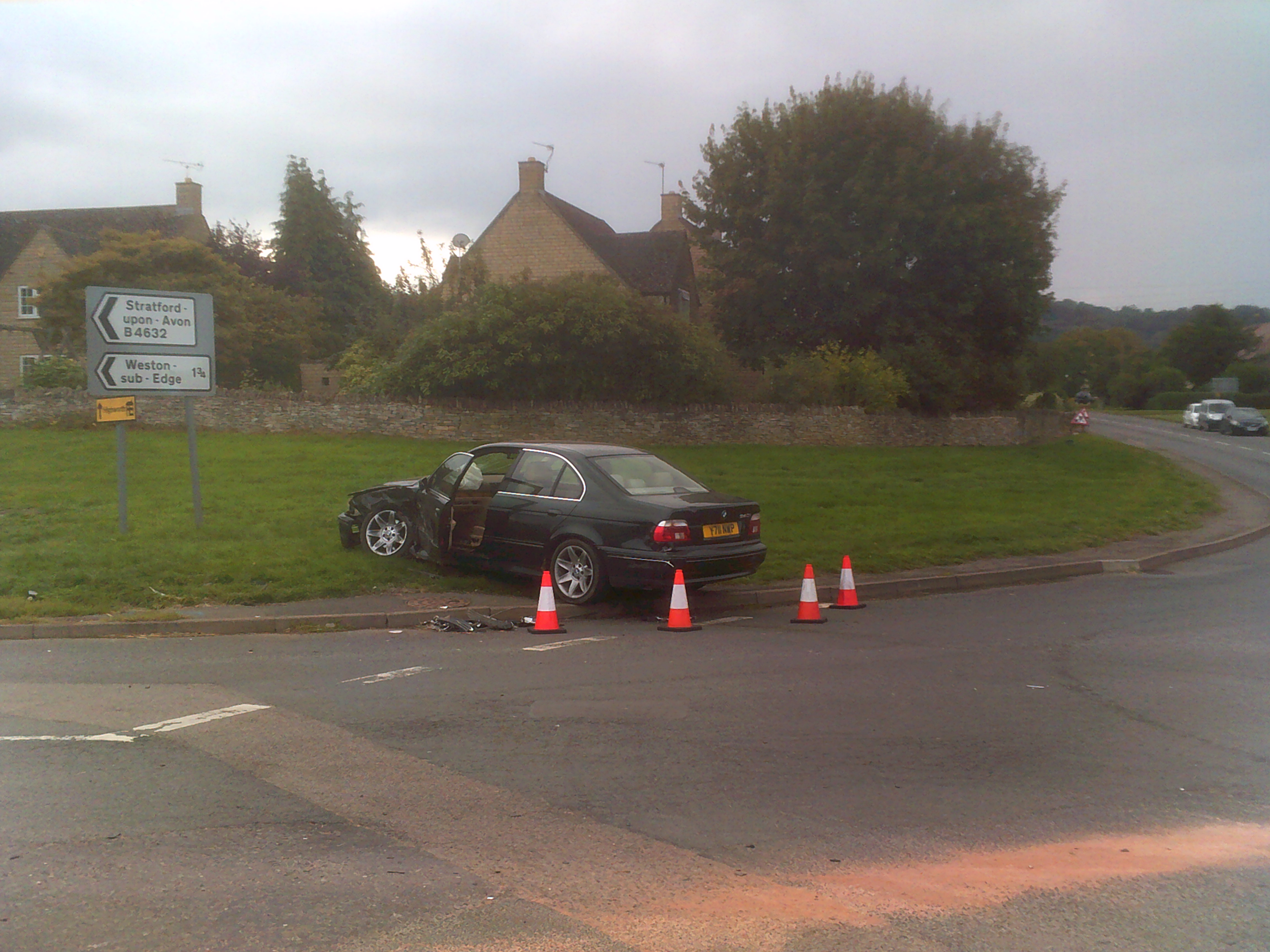 Wrecked car at Pike Roundabout in Willersey.